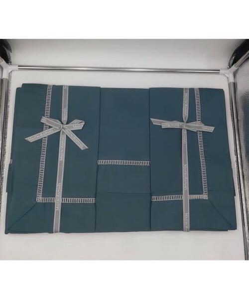 Completo letto matrimoniale My Way in raso di cotone Verde Ottanio di Mastro Raphael
