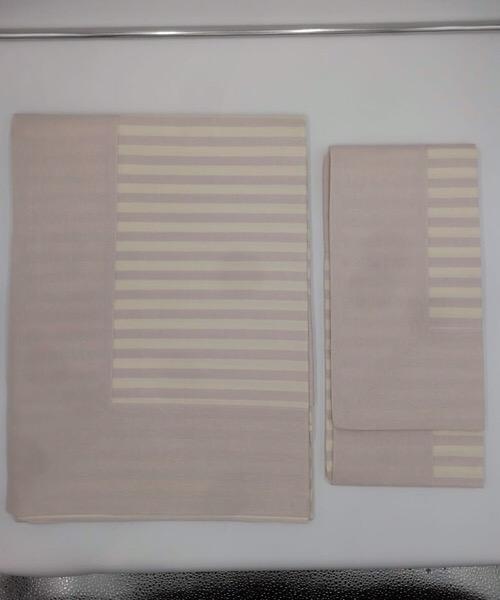 Completo letto 1 piazza tinto filo a righe panna e rosa