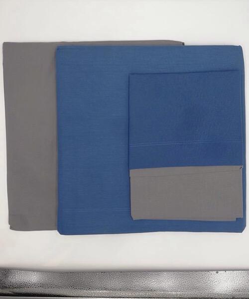 Completo letto 1 piazza bicolor blu/grigio in cotone di Datex trade