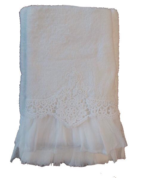 Coppia 1+1 asciugamani bianco in spugna