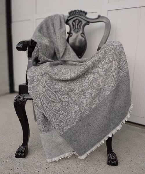 Plaid Shamir tortora 140 x 180 in misto lana merino